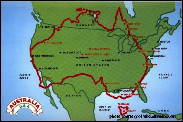 Australia USA map