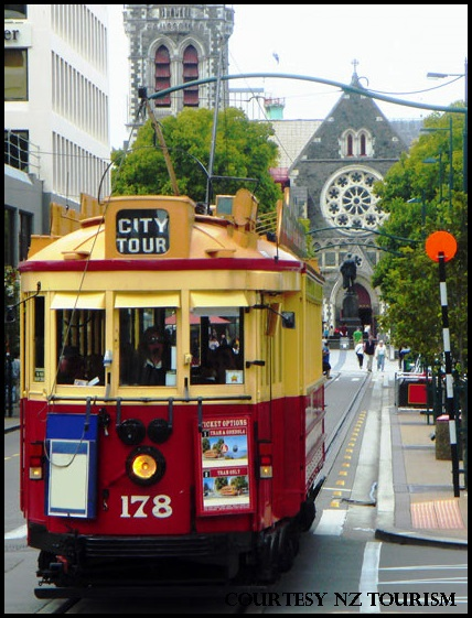 Christchurch trams and church