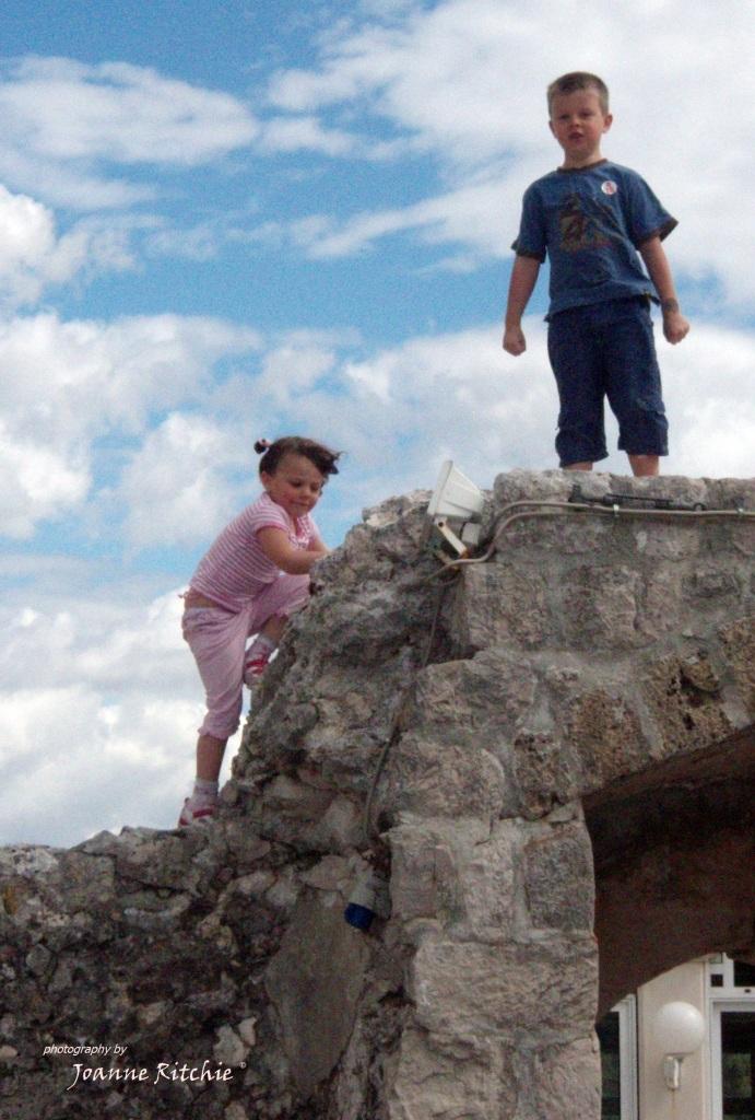 Climbing a 2,000 year old wall, naturally!