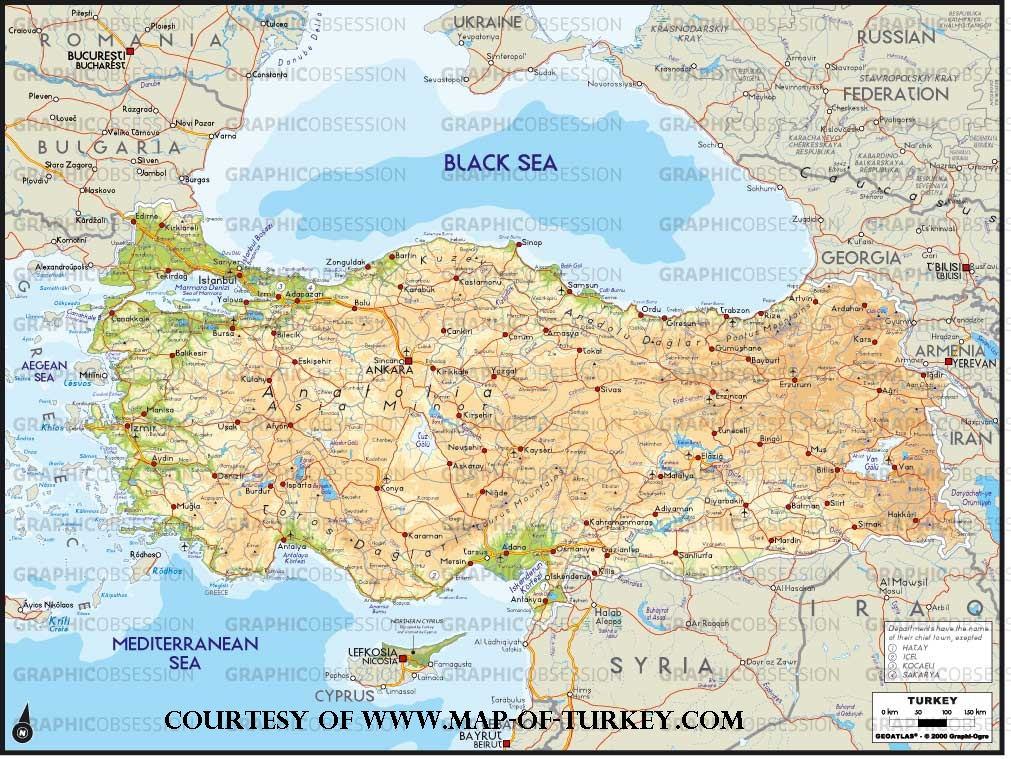 Map of Turkey - coutesy of  www.map-of-turkey.com