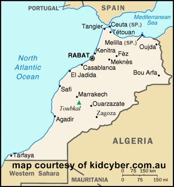 Moroccon Map coutesy of  www.kidcyber.com.au