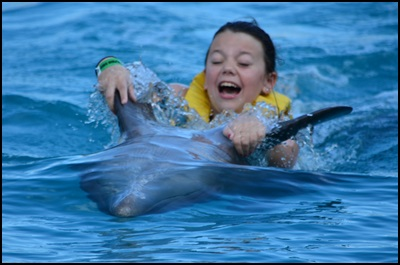 MMR enjoying her dolphin ride