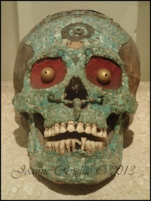 An ornately decorated skull from the Izapan ruins