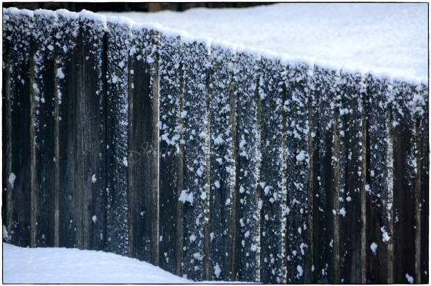 Splattered snow on the fence - NOT Mother Nature's best work!