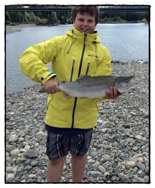 Birthday Boy with his first Pink Salmon of the Season!